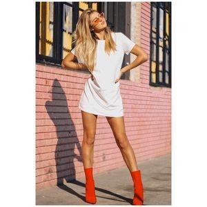Lulu's ( S ) White Mini Short Sleeve Shift Dress